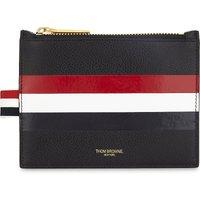 Web stripe leather coin purse