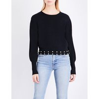 Michi faux-pearl-embellished knitted jumper
