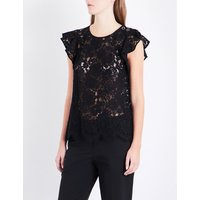 Flared-sleeve floral-lace cotton-blend top