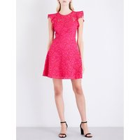 Floral-lace fit-and-flare cotton-blend dress