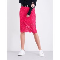 High-rise floral-lace skirt