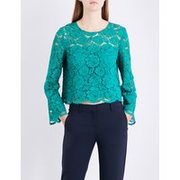 Cropped floral-lace top