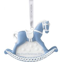 My first christmas blue rocking horse decoration