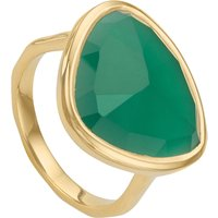 Monica Vinader Siren 18ct-gold plated green onyx ring, Size: K, green