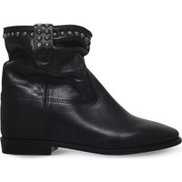 Cluster studded leather ankle boots
