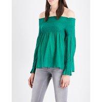 Maje Lafyr off-the-shoulder cotton top, Size: S, Vert