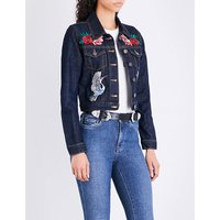 Barry floral and bird embroidered denim jacket