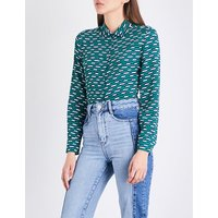 Clelia geometric-print crepe shirt