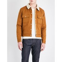 Faux-shearling cotton-twill jacket
