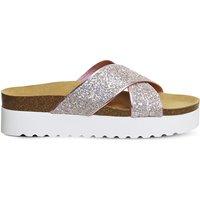Office Warner glitter platform sandals, Women's, Size: 4, Pink holographic