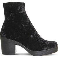 Office Lolz chunky velvet boots, Women's, Size: 6, Black velvet