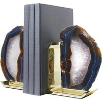 Natural Agate and Gold bookends