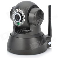 0.3MP Wireless Network Security IP Camera - Black (US Plug)