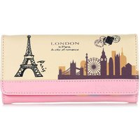 Printed PU Long Wallet Purse for Women - Pink + Black