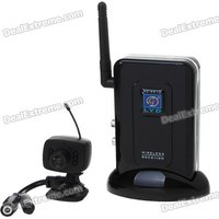 Ultra-Mini 2.4GHz Wireless Surveillance Audio/Video Camera w/ 4-CH Receiver - Black (1-Camera Set)
