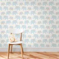 wallpops elephant parade blue peel and stick wallpaper (l)5.5m (w)52cm