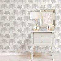 wallpops elephant parade grey peel and stick wallpaper (l)5.5m (w)52cm