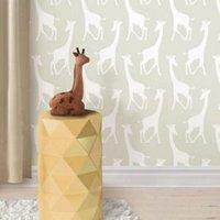 wallpops savannah soiree giraffe taupe peel and stick wallpaper (l)5.5m (w)52cm