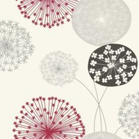 b&q lucienne grey and red floral wallpaper