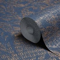 a.s. creation bohemian burlesque blue and bronze large damask metallic wallpaper