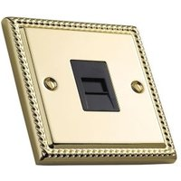 Volex 1-Gang Raised Brass Effect Telephone Socket