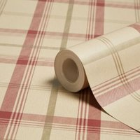 fine décor cambridge red and gold effect plaid wallpaper