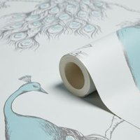 fine décor empress teal and duck egg foliage and birds glitter effect wallpaper