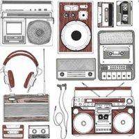 retro music brown and white wallpaper