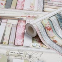 graham and brown fresco pink collage bookcase wallpaper