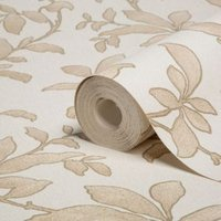 graham and brown sarra gold effect leaves wallpaper