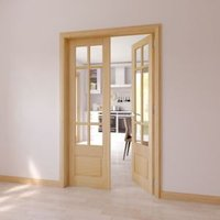 6 Lite Clear Glazed 2 Panel Internal French Door Set  (H)1981mm (W)579mm