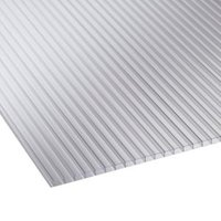 Clear Mutilwall Polycarbonate Horticultural Glazing Sheet 1220mm x 610mm  Pack of 10