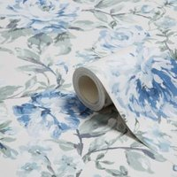 k2 painterly blue and cream floral wallpaper