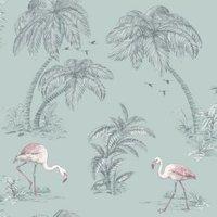 statement flamingo lake mica wallpaper