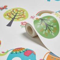 cream  green and orange elephants and trees children