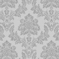 statement salvador grey damask metallic effect wallpaper
