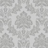 statement salvador grey damask metallic effect wallpaper