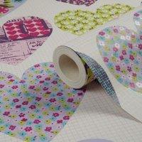 imagine fun patchwork hearts printed wallpaper