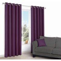 Zen Purple Plain Eyelet Curtains (W)167cm (L)183cm