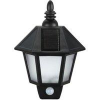 Blooma Polemos Black Black Lantern Solar Powered LED Pir Wall Light