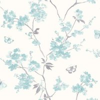 cream and teal blossom flat wallpaper