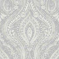 gold anoushka grey damask sheen wallpaper