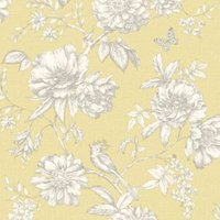gold menagerie yellow floral mica wallpaper