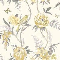 ideco home kew yellow floral matt wallpaper