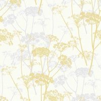 gold ophelia yellow floral glitter wallpaper