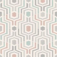 gold meso green and blush geometric matt wallpaper