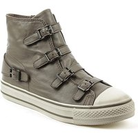Ash Grey Leather Womens Trainer