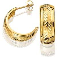 9ct Gold Half Hoop Diamond Cut Earrings