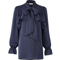 Navy Pussy Bow Blouse