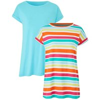 Aqua/Multi Pack of 2 Boyfriend T-shirts
